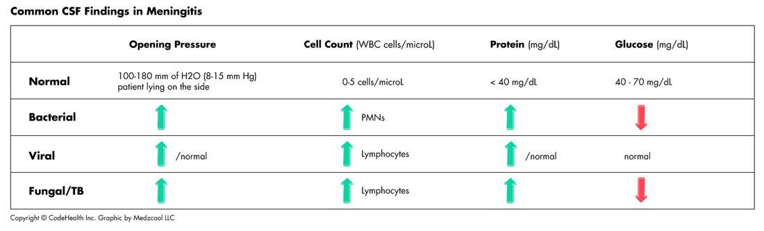 CSF analysis in some common meningitis etiologies